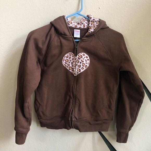 Gymboree Other - Gymboree brown zip up hoodie w/ pink cheetah print